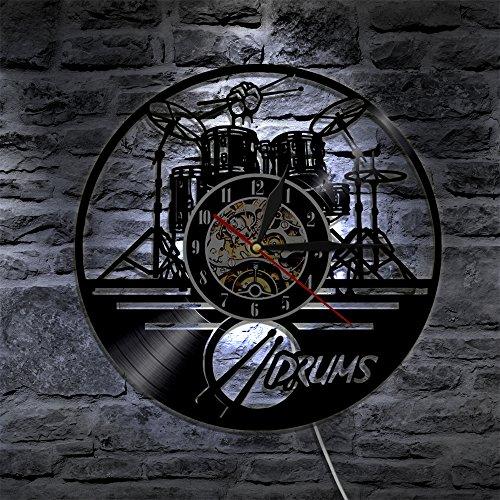 JXWH Tamburo per Chitarra Set Silhouette retroilluminazione Squadra Orologio da Parete in Vinile Moderno Regalo per Fan Membro della Band