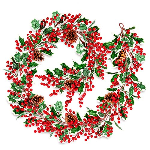 Whaline Christmas Red Berry Garland 6.43 Ft Artificial Berry Garland with 2 Hooks Fake Green Leaves Pine Cone Holiday Greenery Xmas Hanging Decoration for New Year Fireplace Door Table Decor