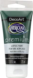 DecoArt Phthalo Green-Yellow Americana Premium Acrylic Paint Tube 2.5oz