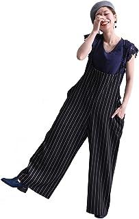 [ゴールドジャパン] ロングパンツ サロペットパンツ ボトムス ロング丈 ストライプ柄 楽ちん 肩紐 ワイドパンツ 大きいサイズ レディース