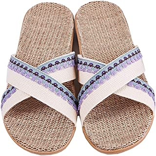 Beach Shoes - Non-slip Wicking Lightweight Breathable Slippers Home Outdoor Sandals Linen Slippers