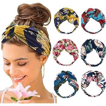Bohend Boho Moda Fascia per capelli Ampio annodato Fiore Copricapo Elastico Sport Yoga Accessori per capelli per Donne e Ragazze 6 pezzi