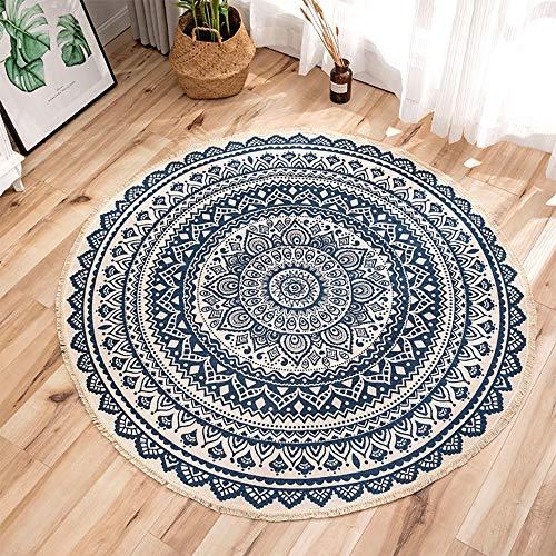 Wankd Mandala Indien Tapis Rond en Coton de Style Boho,Tapis Rond avec des Gland,Classique Rond Traditionnel Moderne de Tapis pour la Chambre,Le Salon (90 x 90 cm) (A)