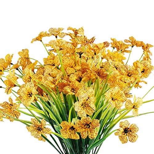 12 Bundles Artificial Flowers Outdoor UV Resistant Flowers No Fade Faux Plastic Plants Garden Porch Window Box Decorating (Yellow)