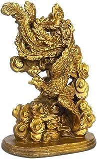 Phoenix Dragon Sculpture Harmony Brass Statue Marriage Wedding Luck Home Decor 13X8.5X5CM (Color : Dragon)