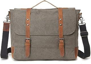 Men's Accessories Office Vintage Style 9.7 Inch Laptop Handbag Casual Business Briefcase Shoulder Messenger Satchel Bag,Khaki,Green/Blue/Gray Outdoor Recreation (Color : Green)