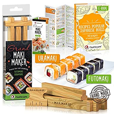 Sushi Making Kit by iSottcom - Sushi Kit for Chef and Beginners - Sushi Maker Your Best Professional Quick Sushi Making Set - Japanese Sushi and Rolls at Home with Easy Sushi Press - Makimaker Grand