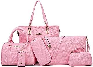 Ladies Bag Shopping Shoulder Bag set of 6 PLeather Business Work Travel (Color : Pink, Size : L)