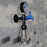 パーティーバーキャビンE27の電球照明用バードケージランタンRFHR鉄金属工業用水パイプの壁取り付け用燭台ヴィンテージランプレトロウォールライト(電球は含まれていません)