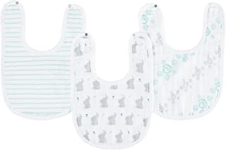 "aden by aden + anais Snap Bib, 100% Cotton Muslin, Soft Absorbent 3 Layers, Adjustable, 9"" X 13"", 3 Pack, Baby Star"