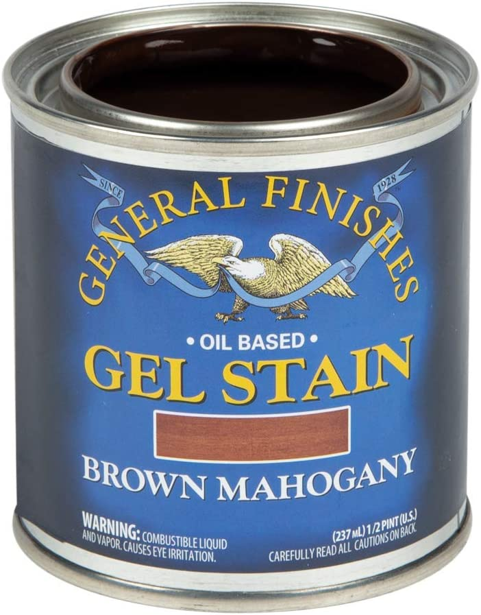 General Finishes Oil Base Gel Stain, 1/2 Pint, Brown Mahogany