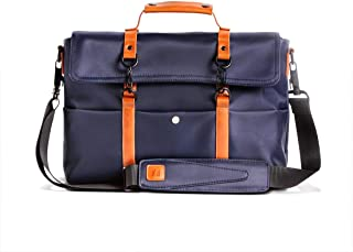 Scarters Premium Splash-Proof Canvas Blue Messenger Bag with Faux Leather Styling for up to 14 inch Laptop/MacBook: The Retro