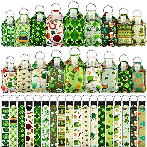54 Pieces St. Patrick's Day Keychain Wristlet Holder Set Empty Keychain Holder Bottle Include 18 Portable 1 oz Refillable Keychain Holder with Flip Cap 18 Bottle Holder 18 Shamrock Wristlet Keychain