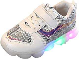 Casual Sports Running Shoes Non-Slip White Breathable, Trainers Sneakers Shoes for Children Kids with Lights Soft Bottom Without Laces, FULLSUNNY