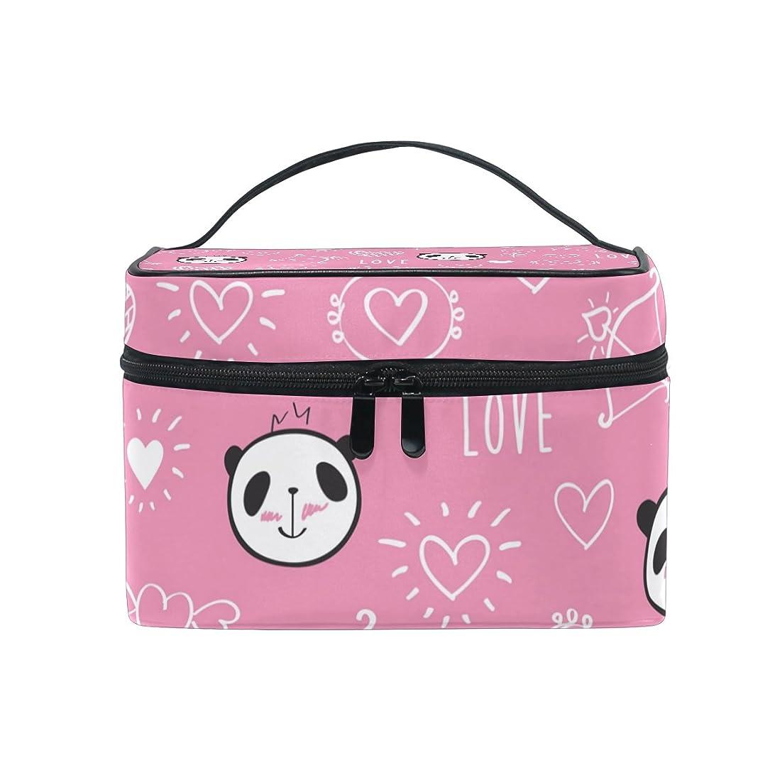 酸化するラフレシアアルノルディ美容師ALAZA 化粧ポーチ パンダ柄 動物柄 化粧 メイクボックス 収納用品 ピンク 大きめ かわいい