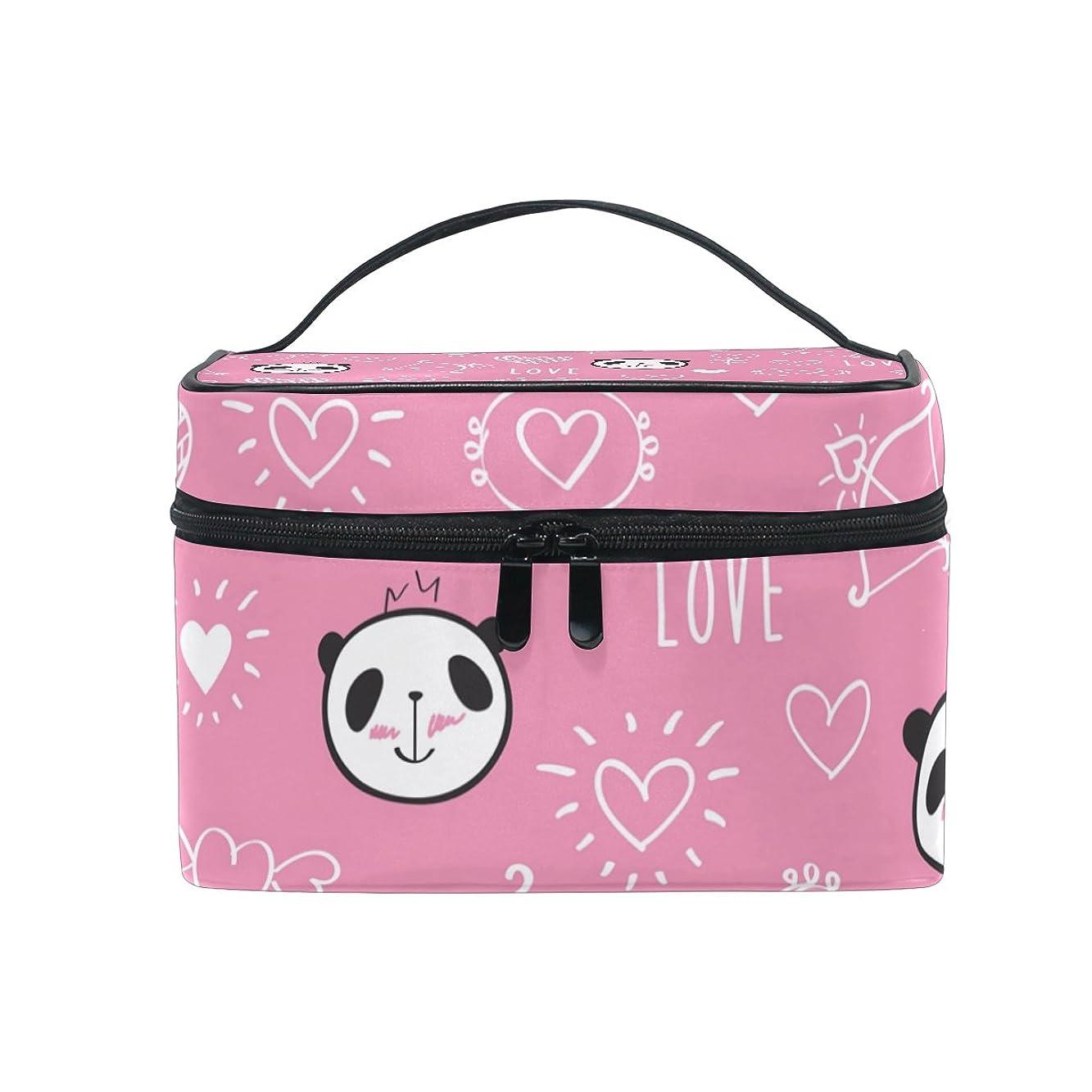 ドキドキマウント生産性ALAZA 化粧ポーチ パンダ柄 動物柄 化粧 メイクボックス 収納用品 ピンク 大きめ かわいい