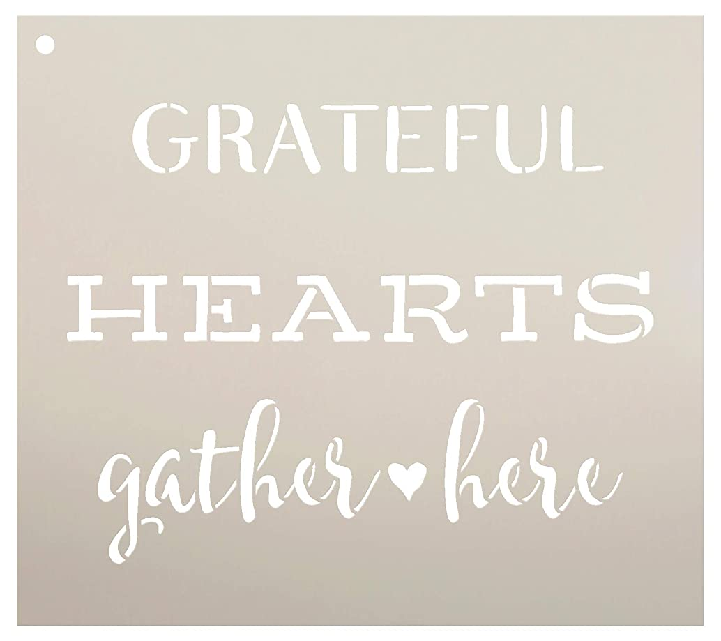 Grateful Hearts Gather Here Stencil by StudioR12 | Reusable Mylar Template | Use to Paint Wood Signs - Pallets - DIY Fall & Thanksgiving Decor - Select Size (11