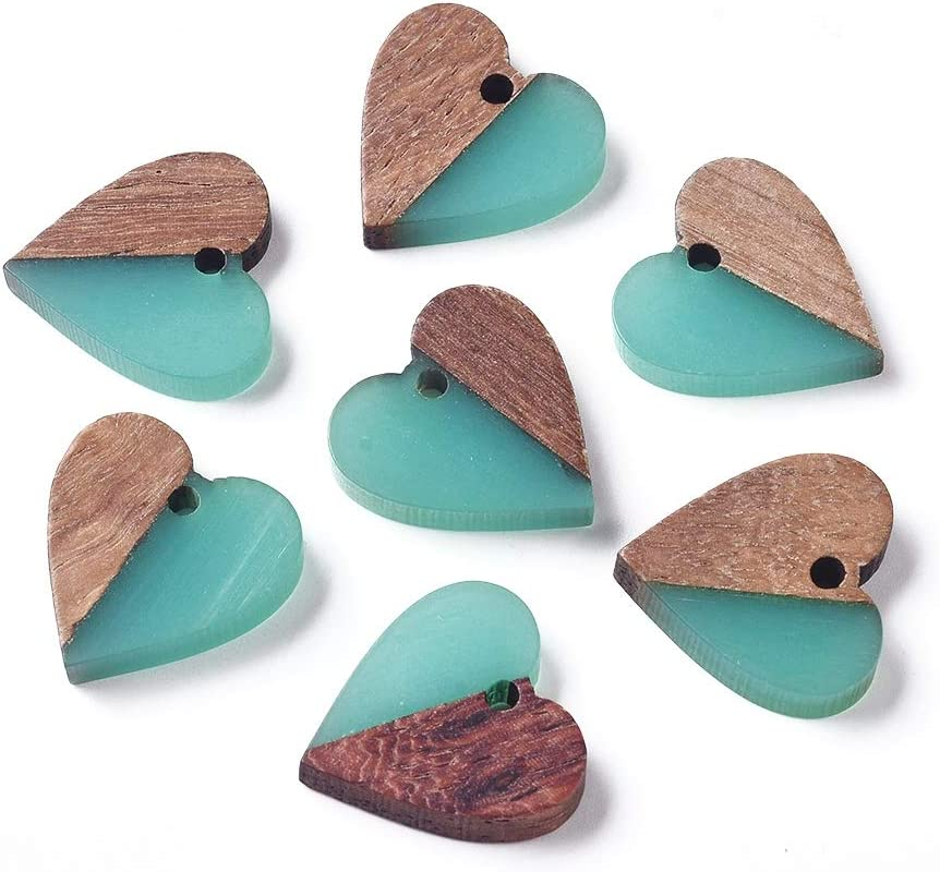 DanLingJewelry 10 pcs Green Vintage Resin Wooden Dangle Drop Earring Making Heart Resin Wood Charms for Jewelry Making 17.5x18mm