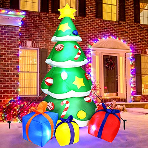 KAQINU Christmas Inflatable Tree, 7 Foot LED Light Up Giant Christmas Inflatables with 3 Wrapped Gift Boxes for Indoor Outdoor Yard Garden Christmas Decorations
