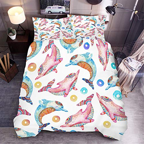 aakkjjzz Double Duvet Covers Set Easy Care Hypoallergenic 3 Pcs Bedding Set Microfiber Machine Washable Color Pattern Dolphin Quilt Cover 200X200cm and 2 Pieces Pillowcases 50X75cm for Double Bed