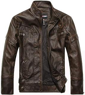 PinShang Men Motorcycle Leather Jacket Zipper Cool Fashionable Slim Fit PU Coat Top Coffee L