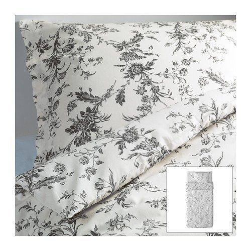 IKEA(イケア) ALVINE KVIST 150x200/50x60cm 掛け布団カバー&枕カバー ホワイト グレー 20172825