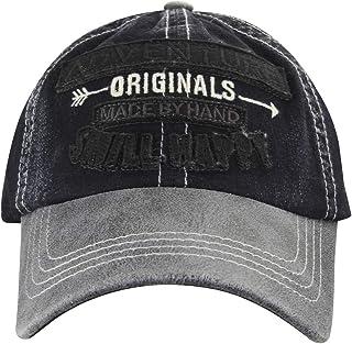 MINAKOLIFE Mens Distressed Vintage Denim Dry Baseball Leather Snapback Trucker Hat