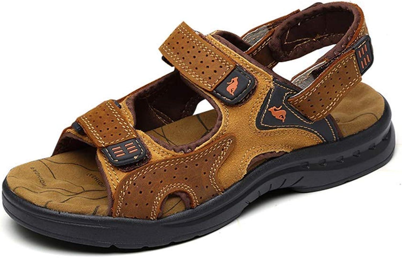 ZHRUI Men Genuine Leather Sandals Summer Flip Flop Outdoor Beach Slippers Casual Walking shoes (color   Brown, Size   4.5=38 EU)