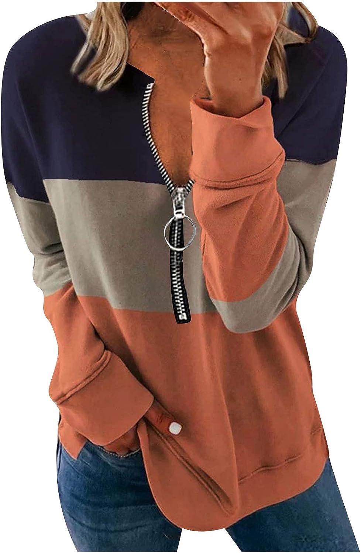 Womens Sweatshirts Striped Loose Casual Pullover Zipper V-Neck Fashion Long Sleeve T-Shirt Fall Comfy Basic Tops