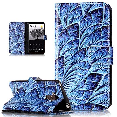 Kompatibel mit LG G Stylo Hülle,LG G4 Stylus Hülle,Bunte Gemalt PU Lederhülle Flip Hülle Cover Schale Ständer Etui Karten Slot Wallet Tasche Hülle Schutzhülle für LG G Stylo LS770/G4 Stylus,Blaue Feder