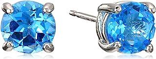 Amazon Essentials Sterling Silver Round Swiss Blue Topaz Birthstone Stud Earrings (December)