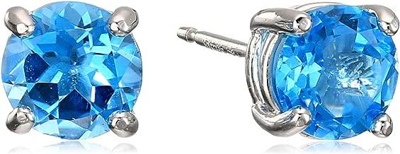 Amazon Essentials Sterling Silver Genuine or Created Round Cut Birthstone Stud Earrings