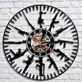 WANGXJ Bullet Time Wall Clock Gun Ammo Home Decor Gun Owners Vinyl Record Wall Clock Military Wall Art Gift for Soldiers and Army 30X30Cm