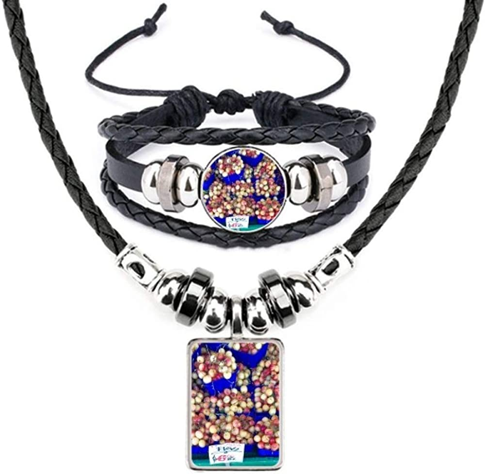 Fresh Fruits Cherry Picture Photography Leather Necklace Bracelet Jewelry Set