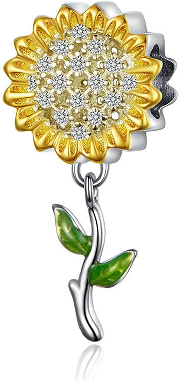Hutou Sunflower Charm Fit Pandora Charms Bracelet and Necklace You are My Sunshine Charm Gifts for Women Sparkling AAA Zircon Paved