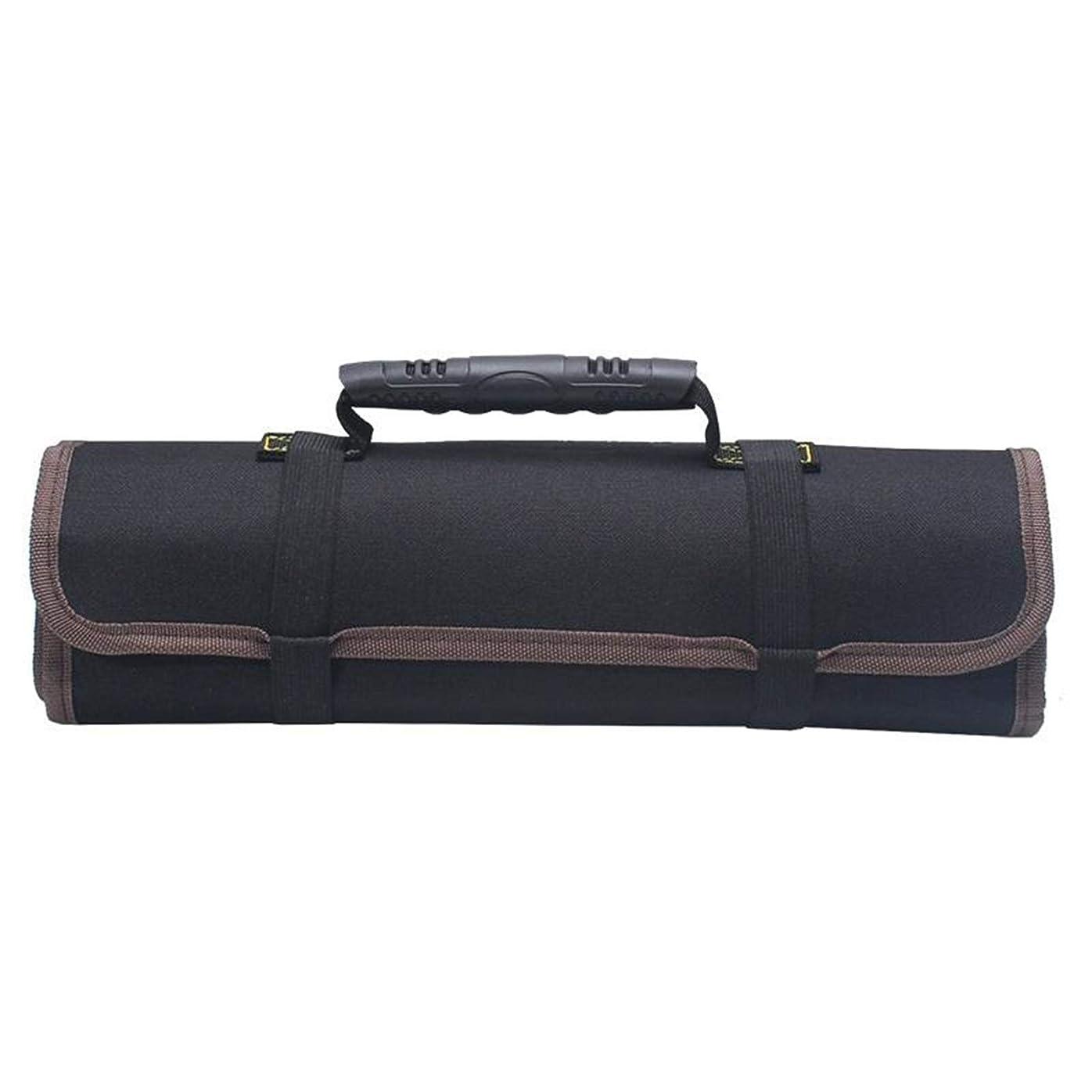その結果解放受け継ぐツールバッグ リールキット電気技師ツールバッグキャンバスオックスフォードクロスキット多機能増粘バッグロールツールキット作業 (Size:585x355mm; Color:Black)