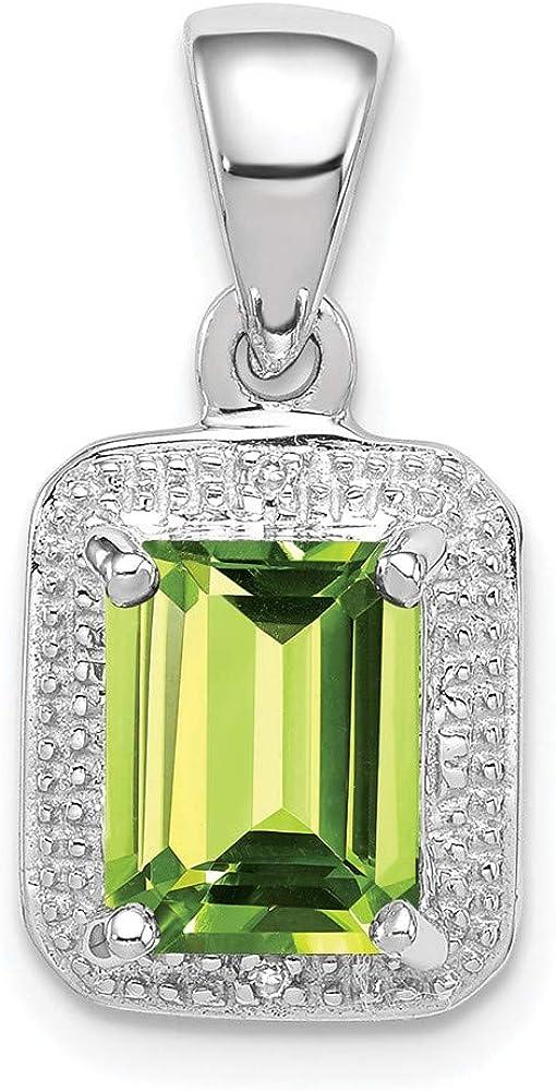 Carat in Karats Sterling Genuine Silver Polished Finish Wholesale Simu Emerald-Cut