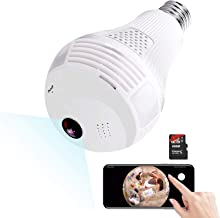 Light Bulb Camera,Include 16GB Card 1080P WiFi Security Camera, 2MP Wireles IP LED..