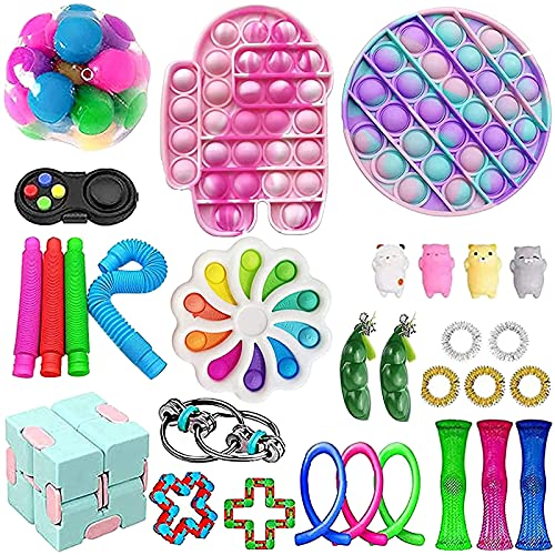 Fidget Toys Pack, Fidget Toy Sets Fidget Pack Barato, Simple Dimple Fidget, Push Bubble Fidget Juguete Sensorial Para Niños (A14)