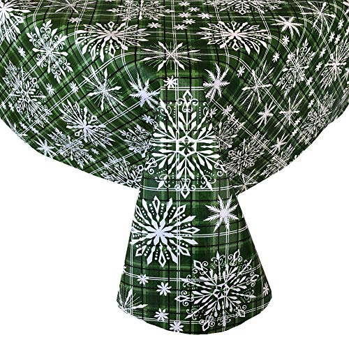Newbridge Snowfall Snowflake Plaid Christmas Print Vinyl Flannel Backed Tablecloth Contemporary Snowflake Design Easy Care Wipe Clean Xmas Tablecloth, 60 Inch x 84 Inch Oblong/Rectangle, Green