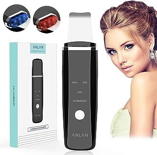 ANLAN Peeling Ultrasónico Facial Skin Scrubber, con Función Iónica, EMS Microcorriente, Fototerapia Roja y Azul para Exfoliación Limpieza Facial y Cuidado Facial