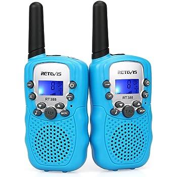 Retevis RT388 Talkie Walkie Enfants PMR446 8 Canaux Écran LCD Lampe de Torche VOX 10 Tonalités d'Appel Verrouillage des Canaux Talkie Walkie Jouet Cadeau pour Enfants (Bleu, 1 Paire)