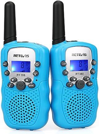 Retevis RT388 Walkie Talkie Niños PMR446 8 Canales LCD Pantalla VOX 10 Tonos de Llamada Bloqueo de Canal Linterna Incorporado Juguete Regalo para Niños (Azul, 1 Par)