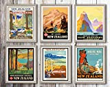 New Zealand Travel Prints Set von 6 Reiseposter Oceania