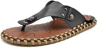 Z.L.FFLZ Men Sandals Men's Thong Flip Flops Beach Slippers Genuine Leather Non-slip Sole Sandals sandals guess (Color : Bl...