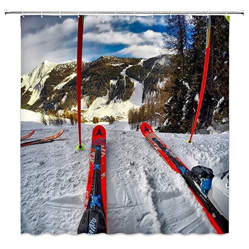 JOOCAR Design Duschvorhang, Winter-Ski-Ausrüstung, grüne Bäume, weißer Schnee, Berge, Outdoor-Sport, wasserdichter Stoff, Badezimmer-Dekor-Set mit Haken