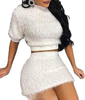 desolateness Women's Two Piece Skirt Outfits Short Sleeve Pullover Sweater Fuzzy Fleece Crop Tops High Waisted Bodycon Skirt
