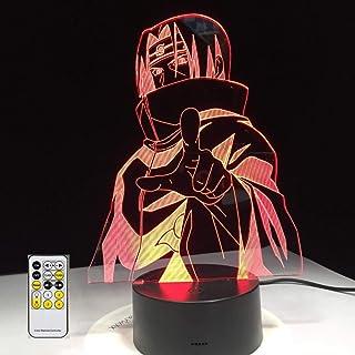 Naruto 7 colores cambiantes 3D modelado visual, luces de noche para niños, botón táctil, USB, lámpara de mesa, iluminación para el hogar