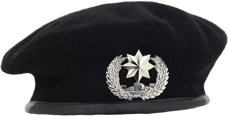 AOBRICON Wool Beret Hats for Women Fashion Army Cap Star Emblem Sailor Dance Performance Hat Chapeau for Unisex