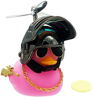 Aimexn Rubber Pink Duck Car Ornaments Dashboard Decoration with Propeller Helmet Glasses and Gold Chain LED Light Golden T...